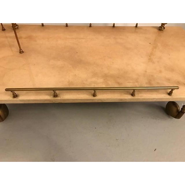 Gold Aldo Tura Brass and Parchment Bar Cart For Sale - Image 8 of 9