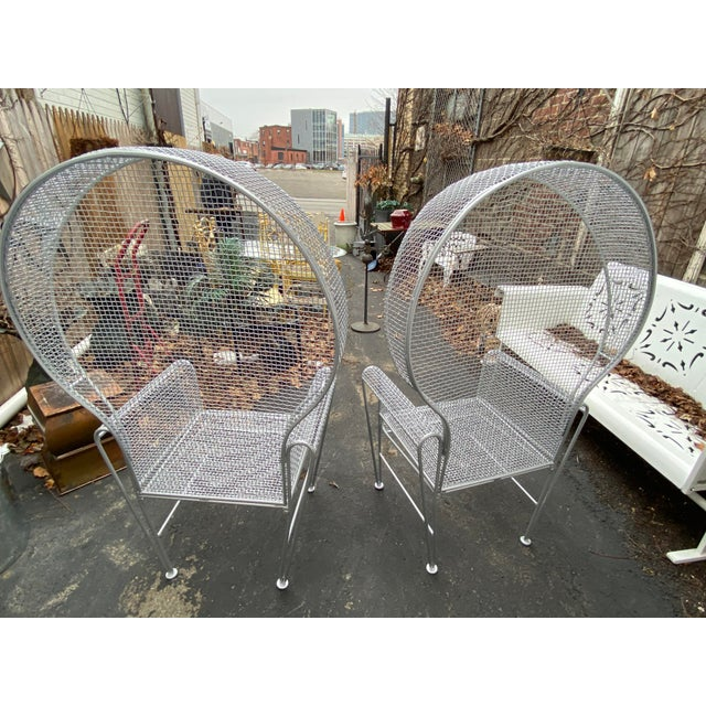 Metal Pair of High Back Outdoor Canopy Chairs by Russell Woodard For Sale - Image 7 of 12