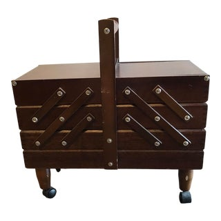 Mid Century Expandable Sewing Box on Wheels For Sale