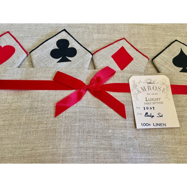 Vintage Game Table Size Tablecloth & Napkins - Set of 5 - Image 3 of 6
