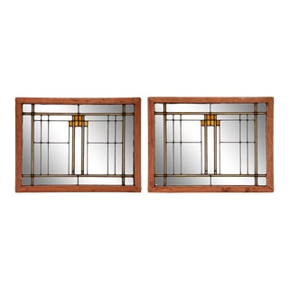 Twin Deco Stained Glass - A Pair For Sale
