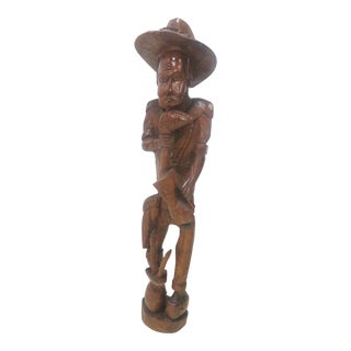 Mid-Century Carved Statue of a Man For Sale