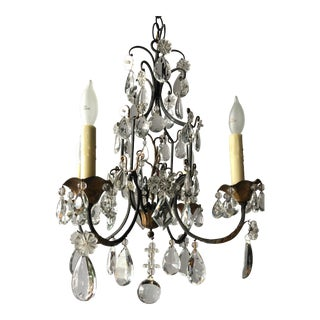 Vintage French Black Iron and Crystal Chandelier For Sale