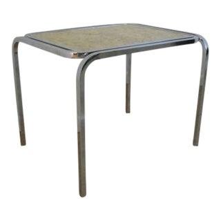 Mid-Century Chrome Burl Lamp End Table