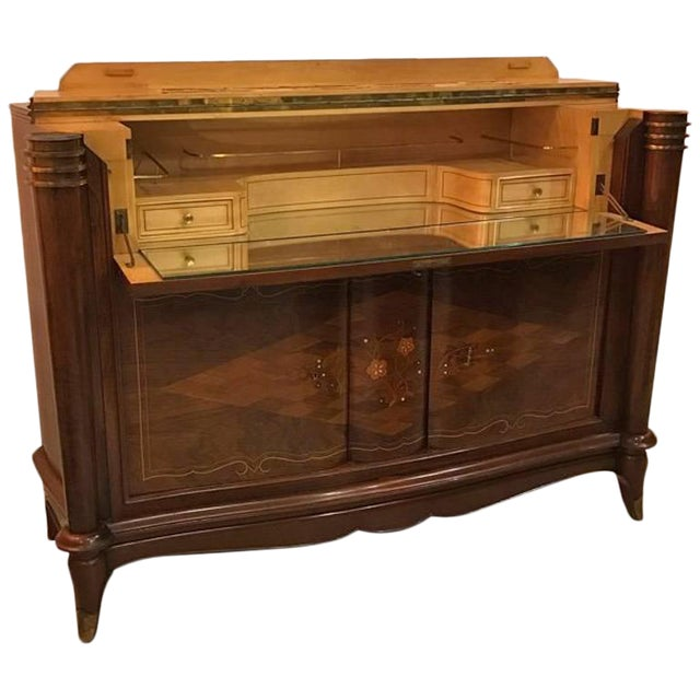 Jules Leleu Style French Art Deco Dry Bar For Sale