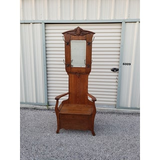 1900s Antique Arts & Crafts Oak Hall Tree Chair Preview