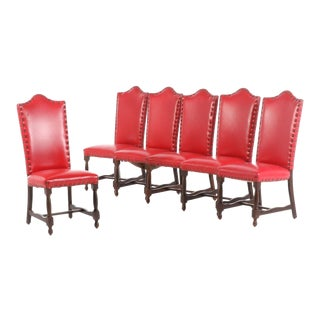 Italian Red Leather Walnut Dining Side Chairs - Set of 6 For Sale