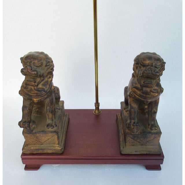 C.1970s-80s Vintage Asian, Chinoiserie-Style, Boho Chic Gilt Foo Dog Lamp For Sale - Image 11 of 13