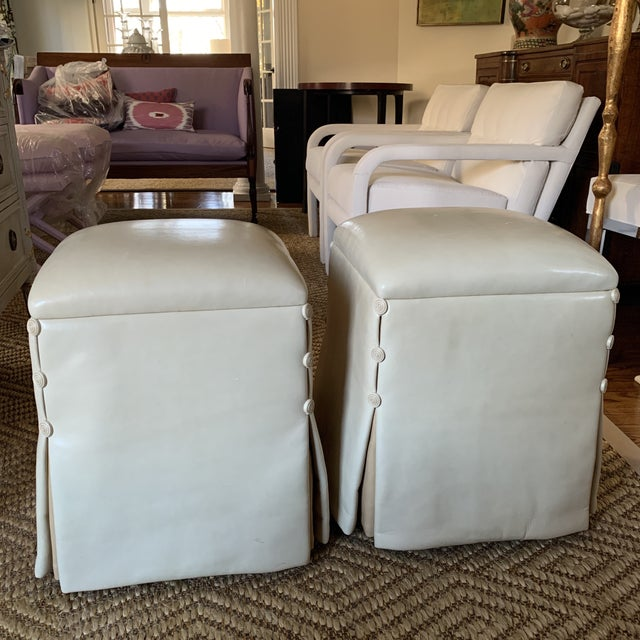 J. Robert Scott Lamb Skin Ottomans-A Pair For Sale - Image 11 of 11