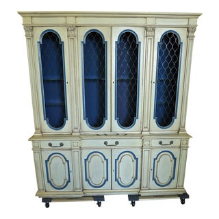 Vintage Mid-Century Karges French Country Breakfront Hutch For Sale