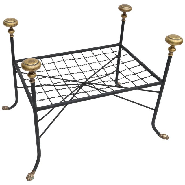 Black Metal Bench or Stool With Brass Finials and Claw Feet For Sale