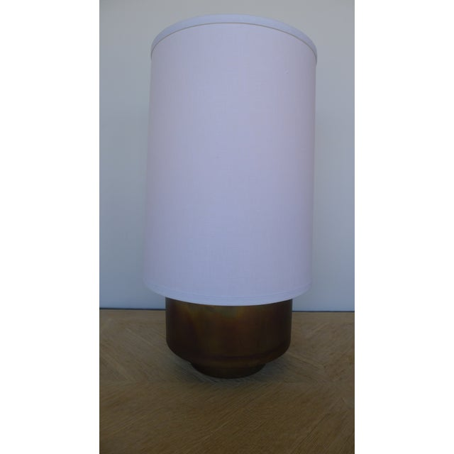 New modern brass table lamp with linen shade by Paul Marra. Currently a pair available, or by order. Electrical has online...