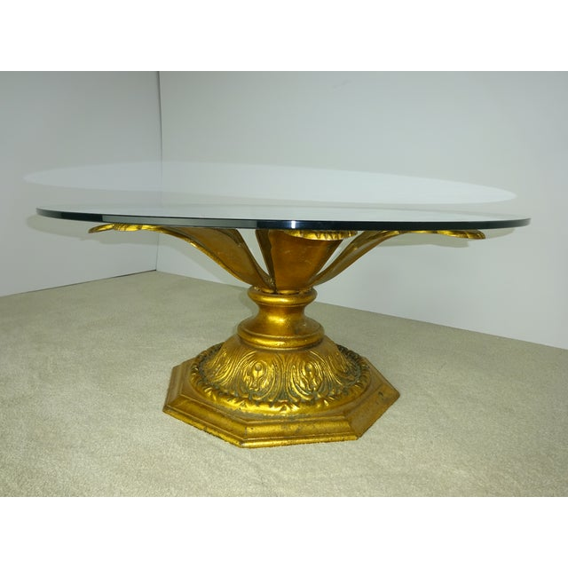 Cast Gilt Aluminum Sunflower Table with Glass Top For Sale - Image 7 of 11