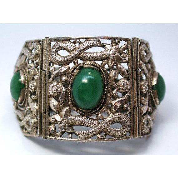 Asian Circa 1940s Chinese Sterling & Serpentine Bracelet For Sale - Image 3 of 4