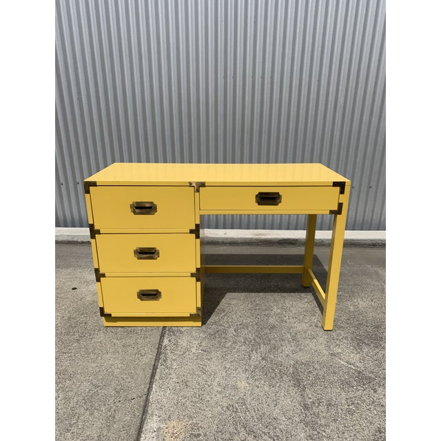 1960s Campaign Style Canary Yellow Writing Desk For Sale - Image 4 of 4