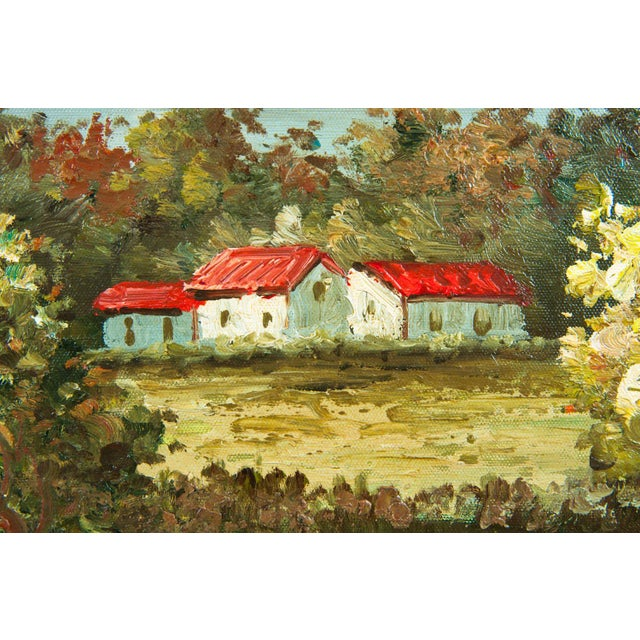 Mid-20th Century Floral Field Wood Framed Oil Painting For Sale - Image 10 of 13
