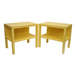 Modern Decca Yellow Grasscloth Raffia Wrapped End Tables - a Pair For Sale
