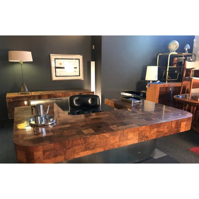 """Brown 1970s Mid-Century Modern Paul Evans """"Cityscape"""" Executive Desk For Sale - Image 8 of 12"""