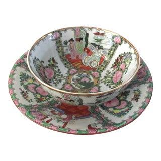 Japanese Famille Rose Porcelain Centerpiece Bowls - A Pair For Sale