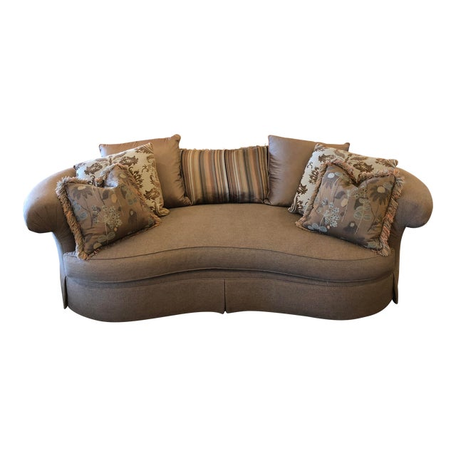 Custom Curved Sofa & Seven Decor Pillows - Set of 8 For Sale