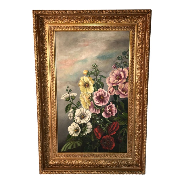 Antique Floral Oil Painting For Sale