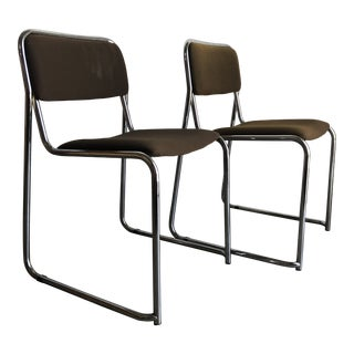 a Pair of Vintage 1970s Italian Chrome Chairs by the Otto Gerdau Company. For Sale