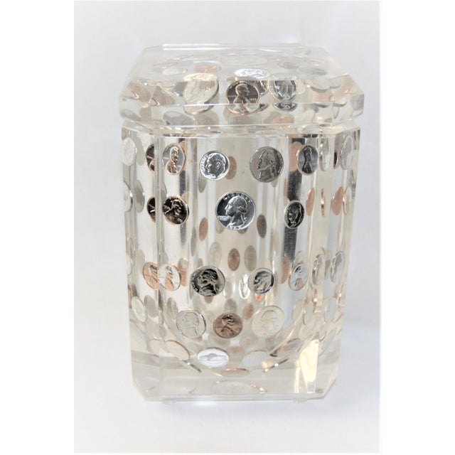 1970s Vintage Alessandro Albrizzi Faceted Lucite Swivel Top Ice Bucket Set- 4 Pieces For Sale In Dallas - Image 6 of 9