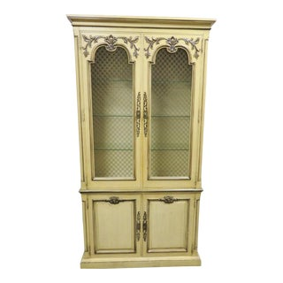 Italian Style Henredon Paint Decorated China Cabinet For Sale