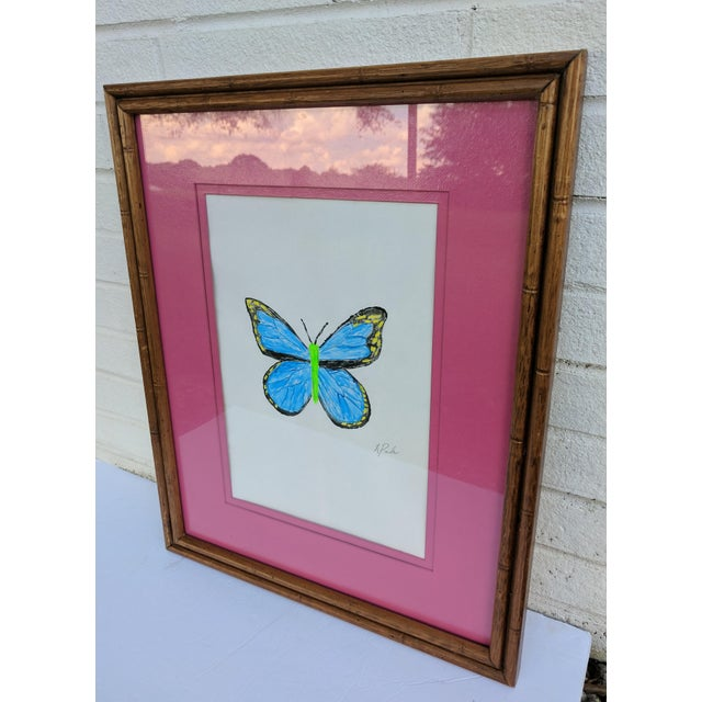 Original Acrylic Butterfly Painting Signed and Framed For Sale In Charlotte - Image 6 of 13