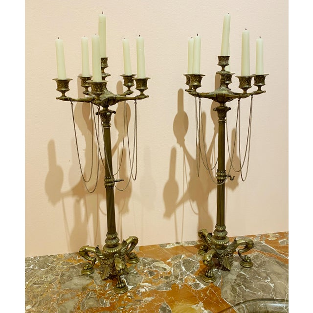French Empire Bronze Candelabrum - a Pair For Sale - Image 11 of 12