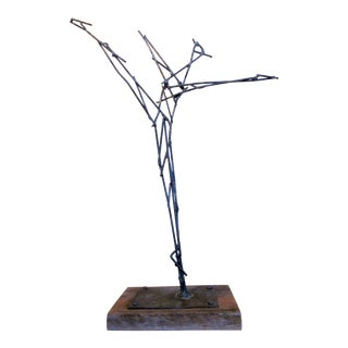 "Vintage Mid-Century Modern ""Dancing Figure"" Steel Wire Sculpture on Wood Base For Sale"
