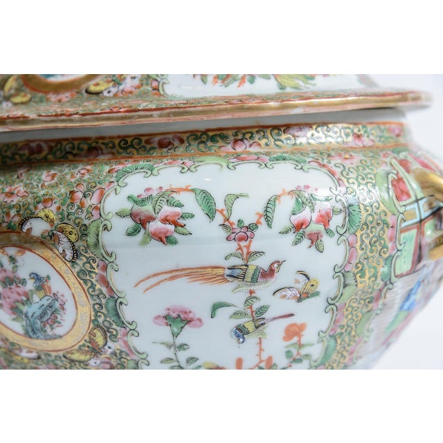 Asian Antique Rose Medallion Soup Tureen For Sale - Image 3 of 8