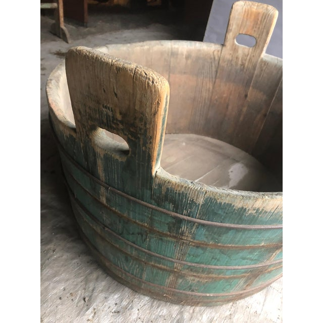 Distressed Country Washing Barrel Tub and Stand For Sale - Image 12 of 13