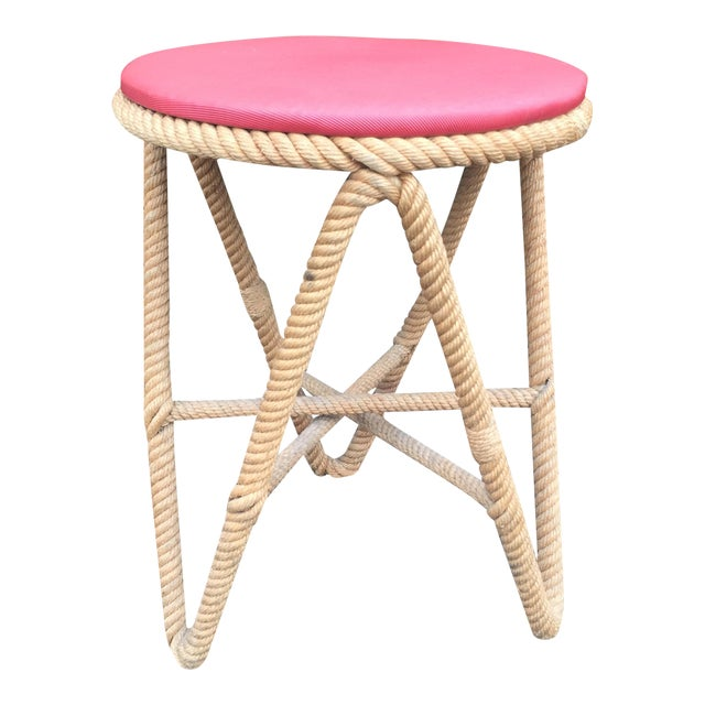 Vintage French Rope Stool For Sale