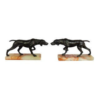1920s Traditional Bronze Hunting Dog Bookends - a Pair