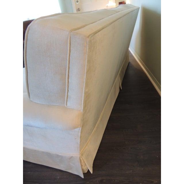 Vintage Long Three Cushion Velvet Upholstered Sofa For Sale - Image 4 of 11