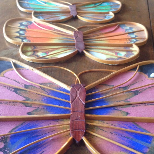 Vintage Rattan & Fabric Butterfly Wall Art - Set of 3 - Image 10 of 11