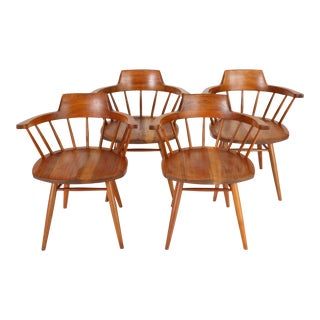 Set of Four Black Walnut Captain Chairs by George Nakashima Studio For Sale