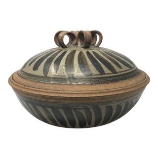 Mid-Century Stoneware Pottery Vessel Bowl With Ornate Lid For Sale