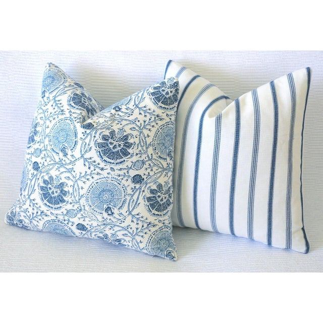 Not Yet Made - Made To Order French Blue Mattress Ticking Pillow Cover 20x20 For Sale - Image 5 of 6