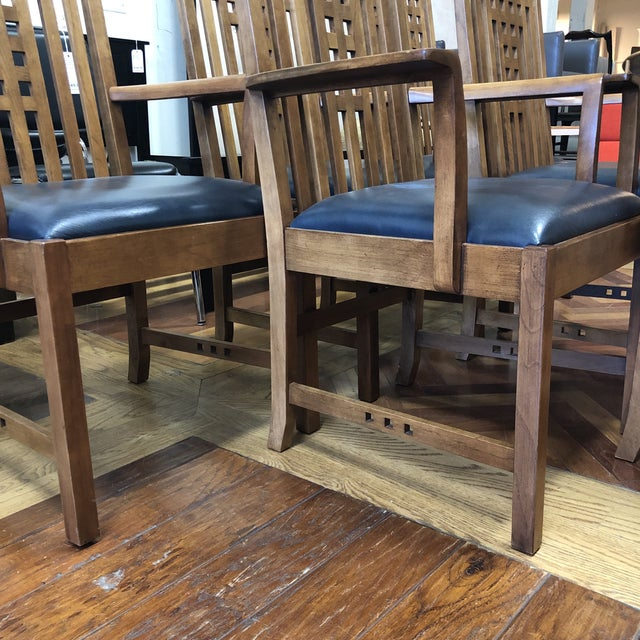 Wood Stickley Furniture Metropolitan Collection Lattice Back + Leather Armchairs- Set of Six For Sale - Image 7 of 13
