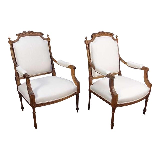 A Pair of French Louis XVI Style Fateuils For Sale