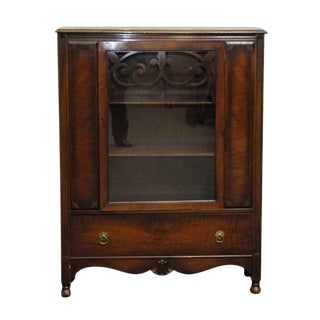 20th Century Traditional Dark Wood & Glass Bookcase For Sale