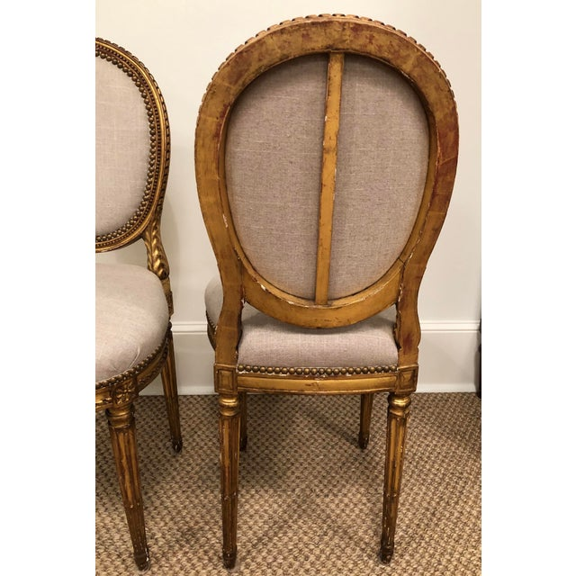 French 1940s Vintage Gilt French Oval Back Chairs- a Pair For Sale - Image 3 of 10