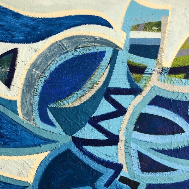 1980s Abstract Multi Blue Colored Oil on Canvas Painting For Sale - Image 4 of 10
