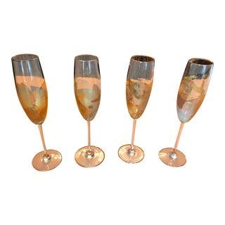 24k Gold Leaf Randy Strong Champagne Flutes - Set of 4