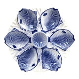 Image of Vintage Bordallo Pinheiro Blue & White Fish Oyster Plate For Sale