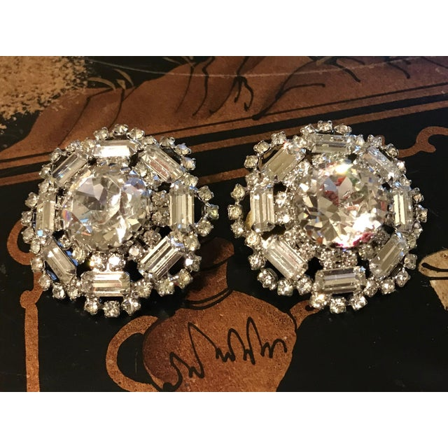 1960s Crystal Cocktail Clip-Back Earrings For Sale - Image 4 of 6