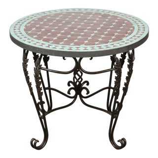 Moroccan Round Mosaic Tile Side Table Indoor or Outdoor