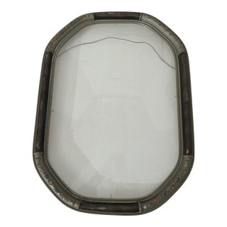 Antique Octagonal Gesso Picture Frame With Original Convex Bubble Glass